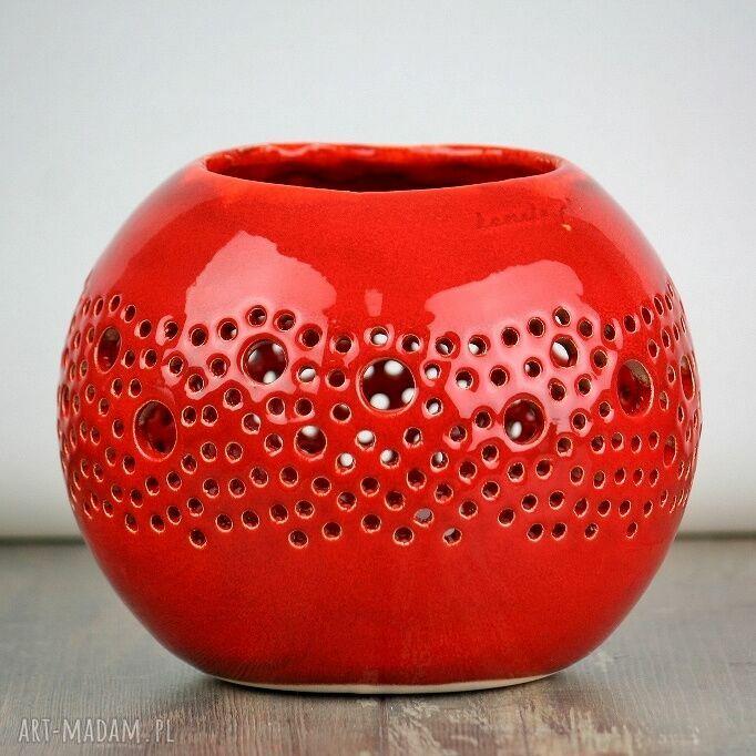 handmade ceramika lampion ball czerwony