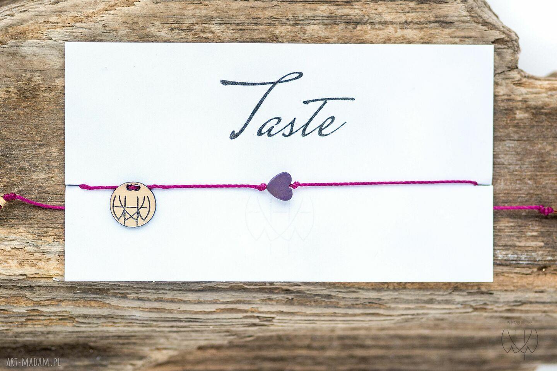 ręcznie zrobione bransoletki whw taste purple heart on fuchsia string