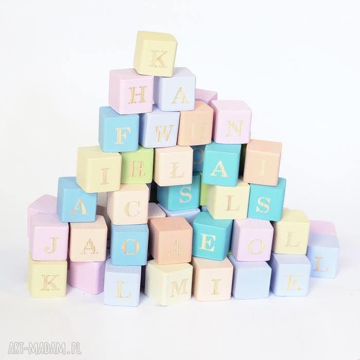 hand-made zabawki alfabet na drewnianych klockach