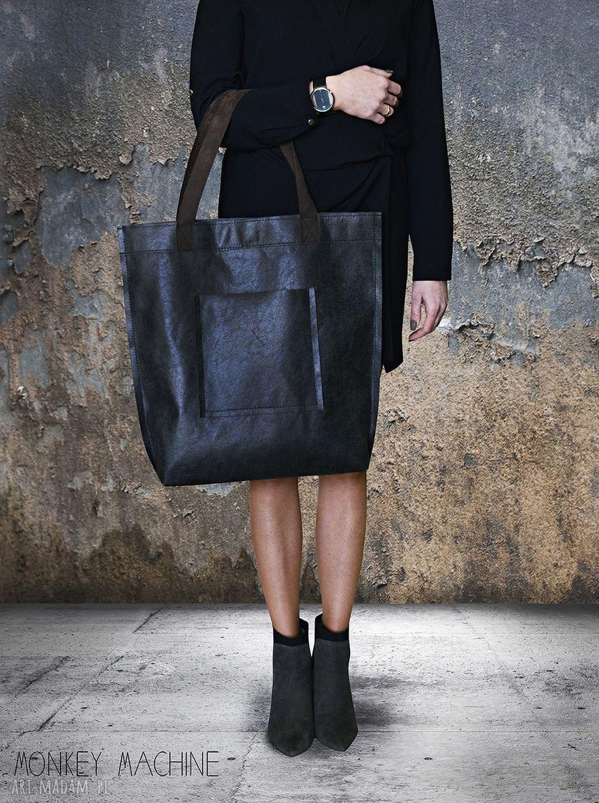 hand-made na ramię torba mr. m vintage czarna skóra naturalna