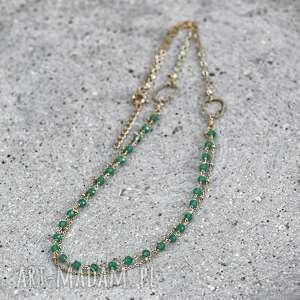 naszyjniki naszyjnik z onyksem zielonym, onyks zielony, onyksami