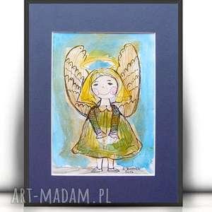 Aniołek obrazek ręcznie malowany, rysunek z aniołkiem, akwarela