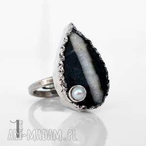 greystone srebrny pierścień z perłą i kamieniem - pierścioek