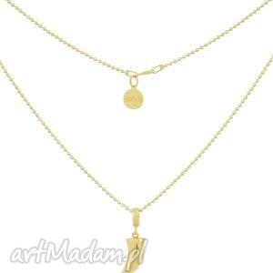 złoty rockowy naszyjnik kuleczkowy łańcuszek z kłem
