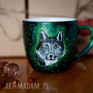 kubek malowany - srebrny wilk, do kawy, prezent dla niego