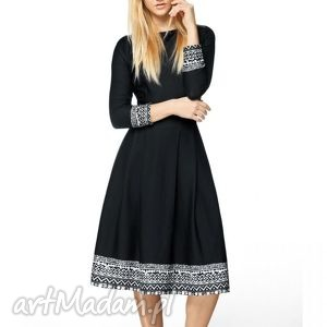 sukienka rita 3/4 midi eligia czarna, aztecka, midi, rozkloszowana, wyjątkowa