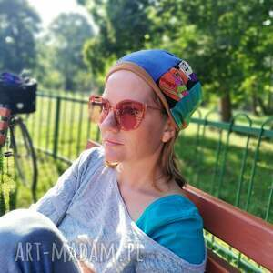czapka damska patchworkowa uniwersalna na podszewce dobra codzienne noszenie