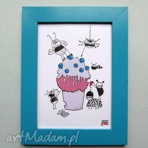 grafika blueberry muffin, z serii yummy, muffinka, jagoda, słodycze, owady