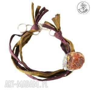 handmade bransoletki karolutka tworzy - bransoletka bursztyn na jedwabiu