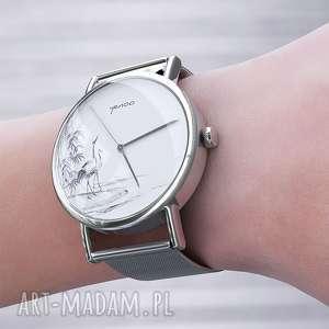 yenoo zegarek, bransoletka - japońskie żurawie metalowy, bransoleta