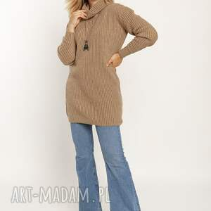 swetry długi, ciepły golf - swe254 mocca mkm, długi golf, sweter