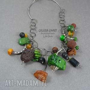 oryginalny naszyjnik hand made. mix w stylu boho: koral lawa bursztyn. niezwykle