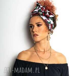 opaska do włosów / apaszka - królowa róża white, apaszki, opaski, szarfy