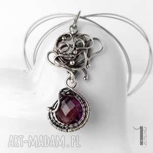 syringa srebrny naszyjnik z ametystem - wirewrapping, delikatny misterny