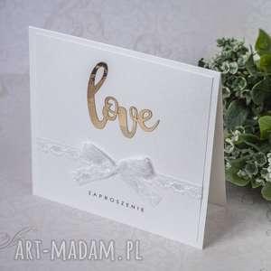 Zaproszenia ślubne LOVE, zaproszenie, ślub, love, lustro, koronka,