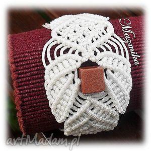 Ażurowa elegancja - ,bransoletka,sznurek,makrama,plecione,