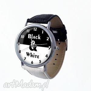 Black rzany zegarek z dużą tarczą, black, white, elegancki, zegarek, skóra