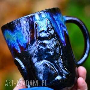 Handmade duży kubek ceramiczny z kotem galaxy 490 ml kubki
