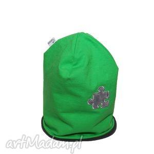 ręcznie robione ubranka czapka zielona szary puzel