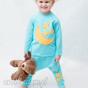 ubranka piżamka turkusowa z żółtym, bawełna, wygoda, handmade, aplikacja, dla