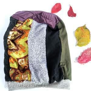 czapka patchworkowa uniwersalna kolory ziemi na podszewce box x1, etno, kolorowa