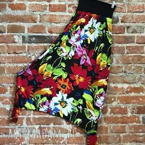 hand made spodnie malowana łąka-spodnie