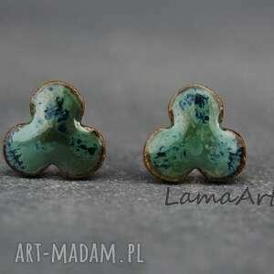 ceramiczne kolczyki na srebrnych sztyftach i barankach - prezent, upominek