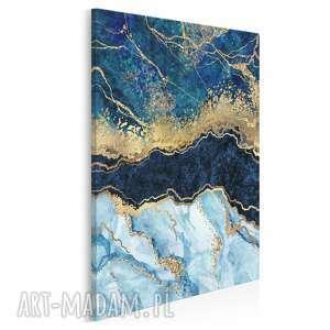 obraz na płótnie - marmur złoto błękit granat w pionie 50x70 cm 96503