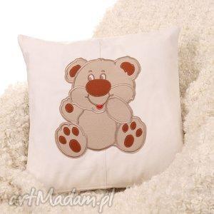 jasna poszewka na poduszkę z misiem dla dziecka - dziecko, miś, poszewka, poduszka