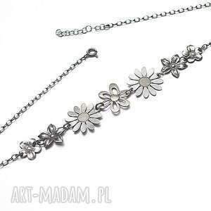 wianek choker vol. 2 - naszyjnik, srebro krótki, kwiaty, romantyczny