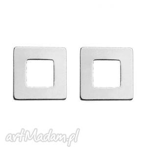 srebrne kolczyki kwadraciki - geometryczne, kobiece, srebro modne