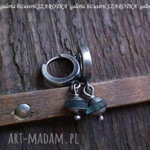 kolczyki antyczne drobinki kolczyki ze szkła afgańskiego i srebra
