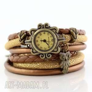 unikalne prezenty, zegarek - bransoletka sowa, boho, ważka, oplatany, vintage