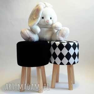 Pufa Czarny Plusz, puf, taboret, ryczka, stołek, hocker, siedzisko