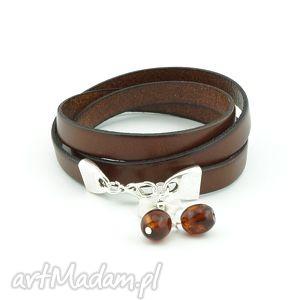 leather with amber, bransoletka, skóra, naturalna, bursztyny, zwijana, święta
