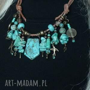 turkusowy naszyjnik w stylu boho unikat handmade oryginalny niezwykły prezent