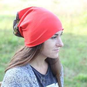 czapka pomarańczowa wiosenna bez podszewki - dzianina, czapka, bawełna, sport