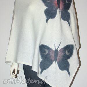 poncho ponczo filcowane, motyle, prezent, filcowanie, wełna, dzianina