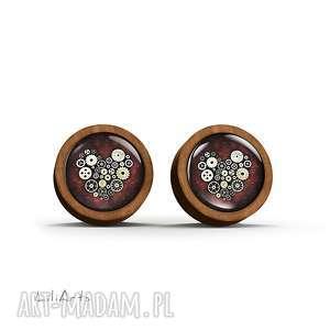 kolczyki drewniane - serce steampunk sztyfty, kolczyki, naturalne