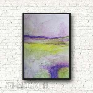 abstrakcja w fioletach i zieleniach-akwarela formatu a4, akwarela, fiolet