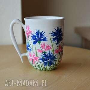 kubki kubek ręcznie malowany chabry dla niej, kubek, malowany, ceramika