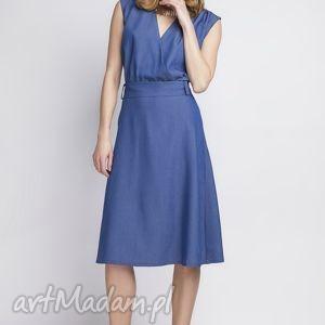 Sukienka w stylu retro jeansowa, SUK126 jeans, kobieca, klasyczna