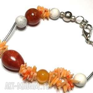 bransoletka uniwersalna, kamienie koraliki, koral, muszle, wykonana w pojedynczym
