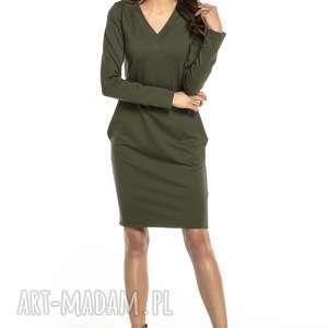 Sukienka dzianinowa z dekoltem v i kieszeniami, t297, zielona