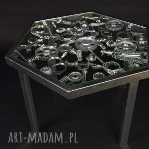 Stolik kawowy industrialny wykonany w całości z metalu, sześciokątny, unikatowy