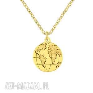 naszyjnik z kulą ziemską - passion, świat, podróże, celebrytka, srebro