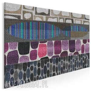 obraz na płótnie - abstrakcja kształty fiolet 120x80 cm 30003