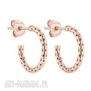 ażurowe kolczyki półkola z różowego złota, grube, eleganckie, koła, kółka