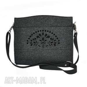 Mała torebka filcowa - grafitowa z czarnym ażurem, ażurowa, filcowa,