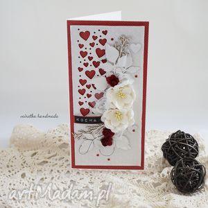 ręczne wykonanie scrapbooking kartki kartka walentynkowa z sercami, w czerwieniach